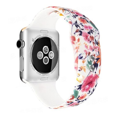 Floral Pattern Band for Women Men, Soft Silicone Watch Strap for Apple Watch Series 38 42 Replacement Strap