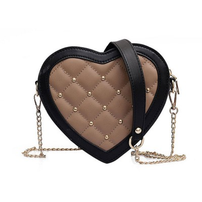 Women Heart Shape PU Leather Handbag with Metal rivet Chain Delicate Shoulder Bag for Youth Lady Girl