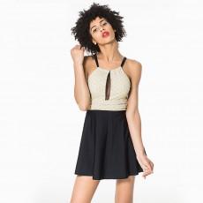 Full Skirt Type Women Swimsuit with Nylon Printed Cloth, Fold Design Flower Pattern One-Piece Slim Layout Large Size Bikini for Ladies Girls