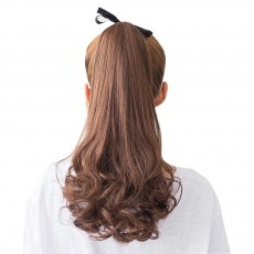 Bandage Type Korean Style Toupee Rinka, Ponytail Curved Hair for Lady, Elegant High Temperature Resistant Stylish Wig