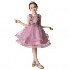 Child Evening Dress Skirt Polyester Cotton Material Round Collar Petticoat Double-layer Mesh under-dress for 3 to 8 Years Girls Spring Summer Formal Dress