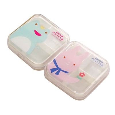 Transparent Pill Organizer Box with Cartoon Pattern, 6 Compartments Travel Medication Container, Daily Pillbox Dispenser