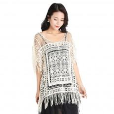 Two-piece Summer Dress with Round Necklines, Tulle Dress Hem Tassel Women Dress, Delicate Hollow Pattern Summer Dressing