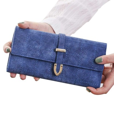 Multi-function Soft Women Purse with Buckle, Fashion Ladies Casual Clutch Bag, Frosted Three-fold Long Purse for Women Girl Lady