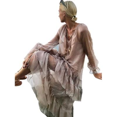 V-neck Ruffled Long-sleeve Resort Boho Dress for Vocation, Bohemian Long Dress, Lantern Sleeve Lotus Leaf Dress Hem Combination Design for Summer Autumn Dress 2019