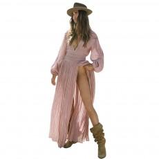 High Slit V Neck with Lantern Sleeves Dress for Vocation, Leisure Pleated Deep V-neck Long Dress