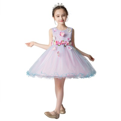Girl Formal Dress, Polyester Cotton Material Sleeveless Fluffy Skirt with Round Collar, Under-dress, One-piece Dress for Three to Ten Years Girls in Summer Petticoat