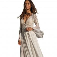 Lace Chiffon Skirt Women Dress, Deep V Neckline Horn Sleeve Dress, Bodice Hollowed-out Lace Dresses