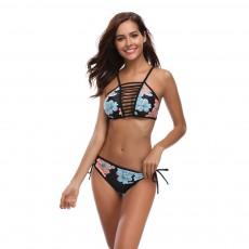 Women Bikini with Retro Halter Neck, Two Piece Swimsuit with Adjustable Bottom Tie Stylish Bikini