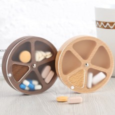 Wooden Pill Box with Beech Acrylic Sealed, Portable Pill Organizer with Compartments Domestic Use Pill Storage Case
