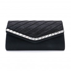 Delicate Ladies Clutch with Sparkling Diamond, Elegant Long Purse for Wedding Evening Party Handbag with Chain Shoulder Cross-body Bag