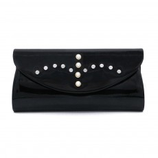Womens Satin Evening Handbag Clutch with Detachable Chain Strap, Elegant Black Clutch for Wedding Cocktail Party