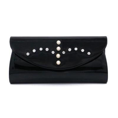 Womens Satin Evening Handbag Clutch with Detachable Chain Strap, Elegant Black Clutch for Wedding Cocktail Party