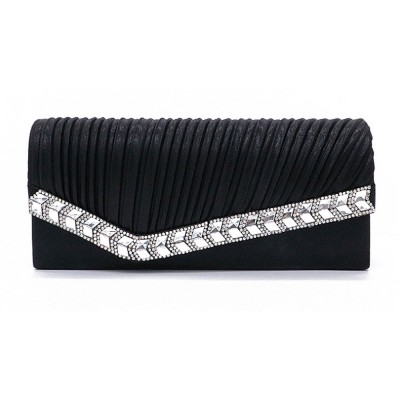 Women Clutch for Wedding Birthday Party, Elegant Long Purse with Diamond Decoration, Elegant Shoulder Bag with Magnetic Snap Detachable Chain