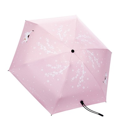 New Mini Super Light Five Folds Umbrella with Cherry Pattern Foldable Sun Protection Parasol Umbrella