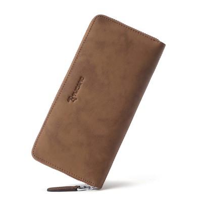 Cowhide Leather Long Wallet with Zipper RFID Blocking, Vintage Bifold Clutch for Men Retro Handbag