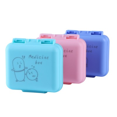 Cute Pill Box Portable 7 Compartments Medicine, Vitamin Plastic Pill Organizer BPA Free for Kids, Elderly