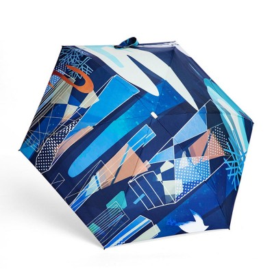 Collapsible Mini Flat Umbrella with High-Tech Layer Pattern Stylish Sun Rain Umbrella for Travel, Outdoors