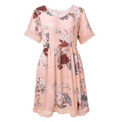 V Neck Women Dress, Breathable Short Dress with Lace Tail, Printing Pink Kilt, Women One-piece Dress Summer Pink 2019
