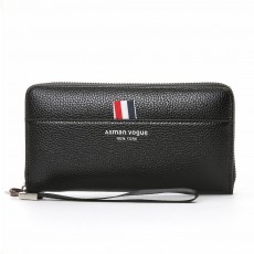PU Leather Men Wallet, Fashion Litchi Grain Multifunction Long Clutch with Zipper, Multiple Cards Large Capacity Handbag
