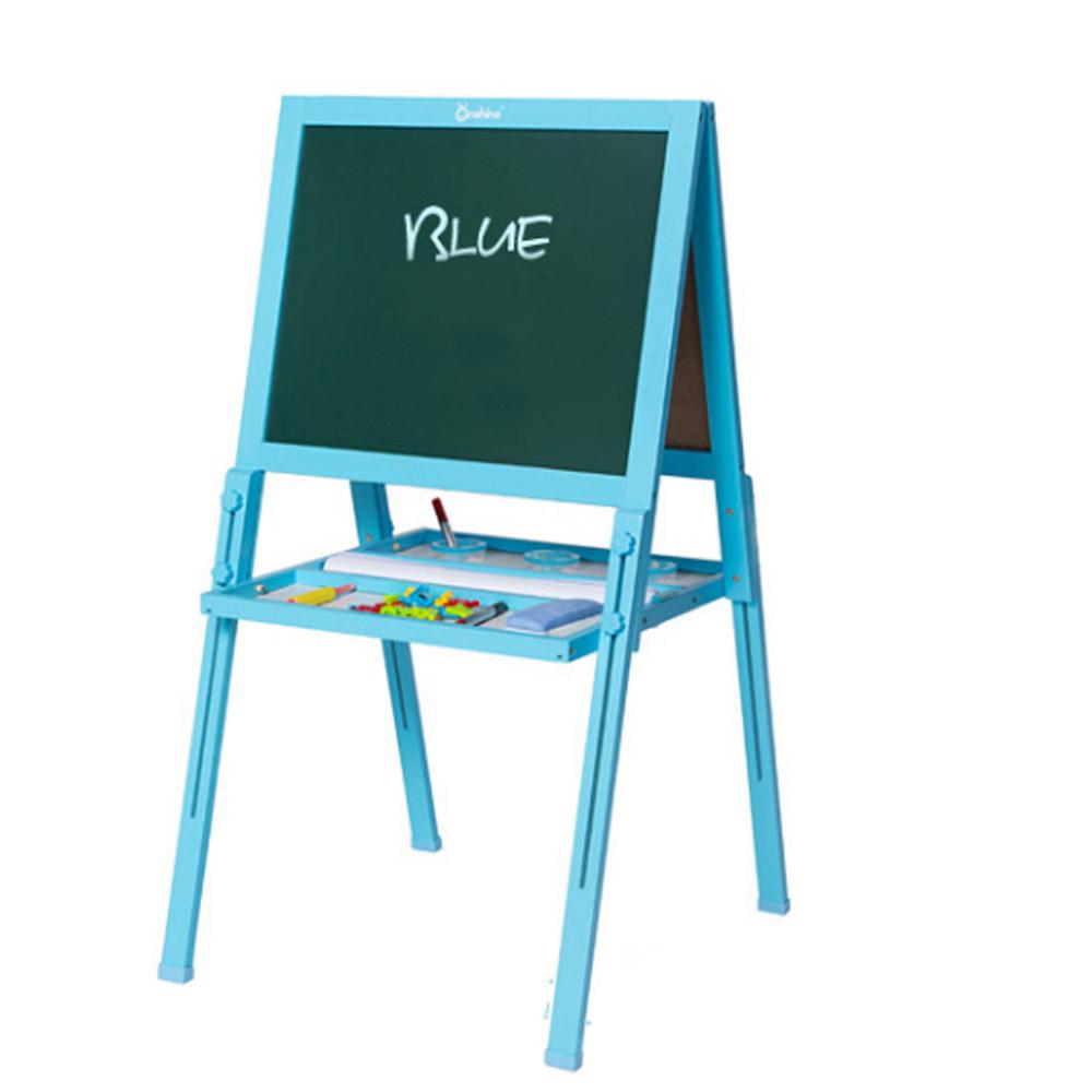 Wood PP Material Drawing Board with Safe Paint, Frosted Board Adjustable Holder Eraser Chalk Whiteboard Marker Palette for Children