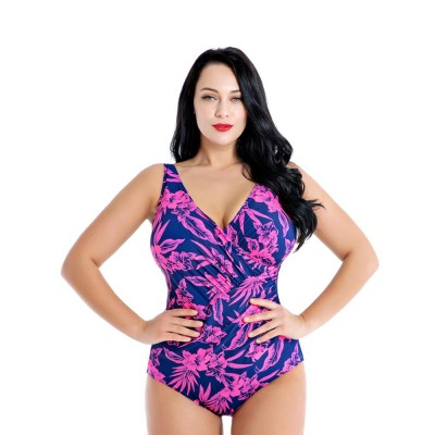 Large Size Swimsuit for Plump Women, One-piece Bikini with Floral Pattern Sexy Swimsuit