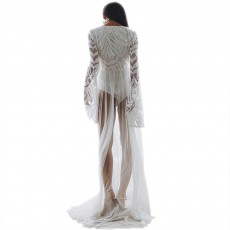 Women Lace Mesh Dress for Beach Holiday, Stylish White Floor-length Fashion Bikini Swimwear Two-piece Dress Skirt