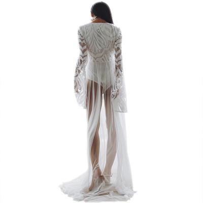 Women Lace Mesh Dress for Beach Holiday, Stylish White Floor-length Fashion Bikini Swimwear Two-piece Dress Skirt