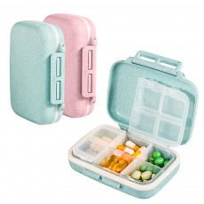 Suitcase Shape Pill Case with Handle Strap, Multiple Compartments Pill Box for Kids, Elderly, Pill Storage Organizer