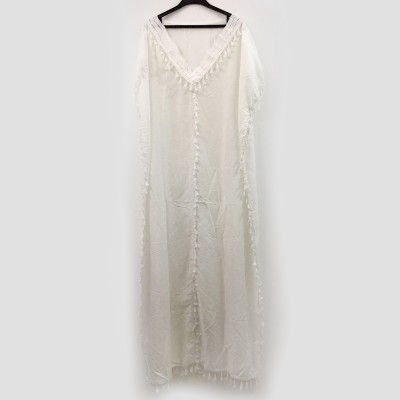 Women Long Beach Dress Large Size V-neck Fashion Tassel Loose Bohemian National Style Beach Dress Hot Sale 2019