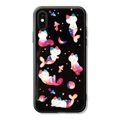 Mobile Phone Case Full-hemmed Fish Cat Starry Sky Smart Phone Back Cover Shell for Apple iphone X, 6s, 7plus, 8, OPPO R11