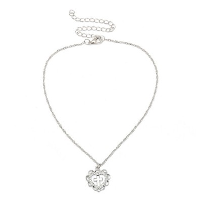Personality Heart Shape Necklace Pendant, Alloy Retro Simple All-match Cross Pendant Diamond Encrusted Jewelry 2019