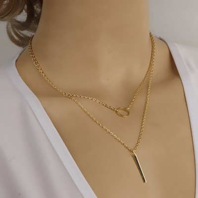 NATURAL STONE Necklace with Metal PENDANT and Tassel Trend 2020 adjustable length for Layering