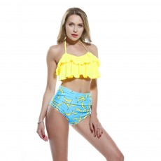 Lotus Leaf Chest Swimsuit, Separated Type Halterneck Swimwear for Summer, Flower Printed Women Bikini