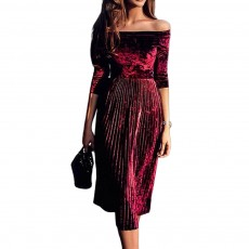 Women Off Shoulder Dress Boat Neck Three Quarter Sleeve Empire Pleated Velvet A-Line Midi Dress