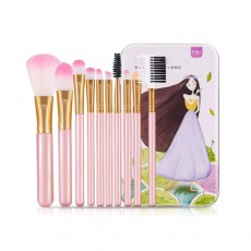 Makeup Brush Sets 10 PCS Makeup Brushes for Face Eyeshadow Eyebrow Blush Contour Foundation Fluffy Crease Cosmetic Brush Set Pink Best Gift for Lady Girl With Delicate Package Box
