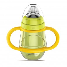 Anti-choke Baby Feeder with Handle for 6-18 months Babies, Anti-leak Food Grade Liquid Silica Gel Baby Nursing Bottle Baby Feeding-bottle