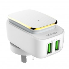 LED Nightlight Charger, USB Wall Charger with 2 Ports, USB Smart Home Travel Charger, Touch Control Power Adapter Charger with Soft Night Light for Home Office Travel