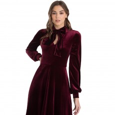 Women Choker V-Neck Velvet Dress Flare Long Sleeve Elegant A Line Dress with Bowknot Design