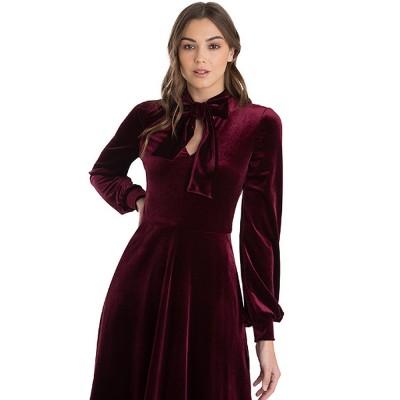 Women Choker V-Neck Velvet Dress Flare Long Sleeve Elegant A Line Dress with Bowknot Design