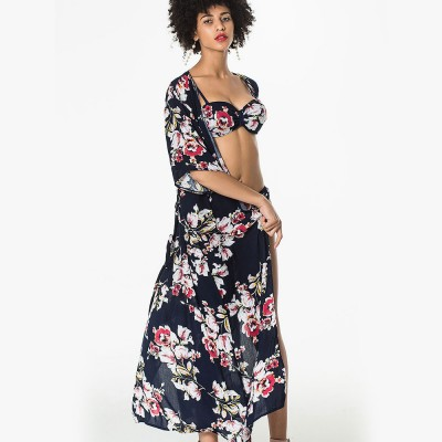 Women Sexy Three Piece Swimsuits, Floral Printed Bikini Set, Summer Beach Poncho Cover up Dress