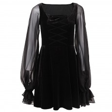 Women Sexy Dress with Bishop Sleeve Mesh Spliced Design Elegant Look Back Dress