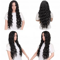Long Curly Wig, Big Wave Black Synthetic Hair Heat Resistant Middle Parting Full Head Wig for Women