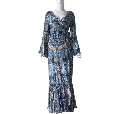 Women Long Sleeve Maxi Dress Casual Long Dresses Beach Dresses Bohemian Printed Side Split Dresses