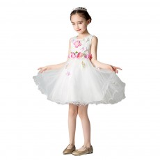 3D Flower Girls Princess Dress, Sleeveless Tulle Birthday Party Dress Best Gifts for Girl