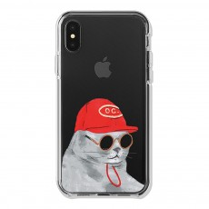 Shockproof TPU Mobile Phone Shell Back Cover Transparent Case, MOO Sprouts Sunglasses Cat Pattern for Apple iphone 6 6s XR XS MAX, IPhone 8 plus 7 Plus 7 8