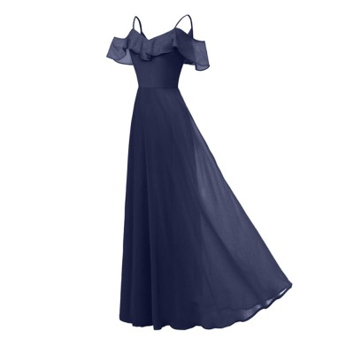 Condole Belt Dress for Women, Elegant Flounces Long Skirt, Classic Color Chiffon Sexy Annual Meeting Dresses