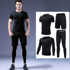 Men's Workout Sets with Compression Pants, Long & Short Sleeve Shirts and Loose Fitting Shorts 4 PCS