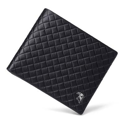Fashion Men' s Wallet Short Money Card Holder Business Genuine Leather Wallet, Simple Rhomboids Folding Men' s Wallet