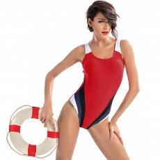 One-piece Women Swimsuit for Beach, Swimming Pool, Constrast Color Backless Swimwear